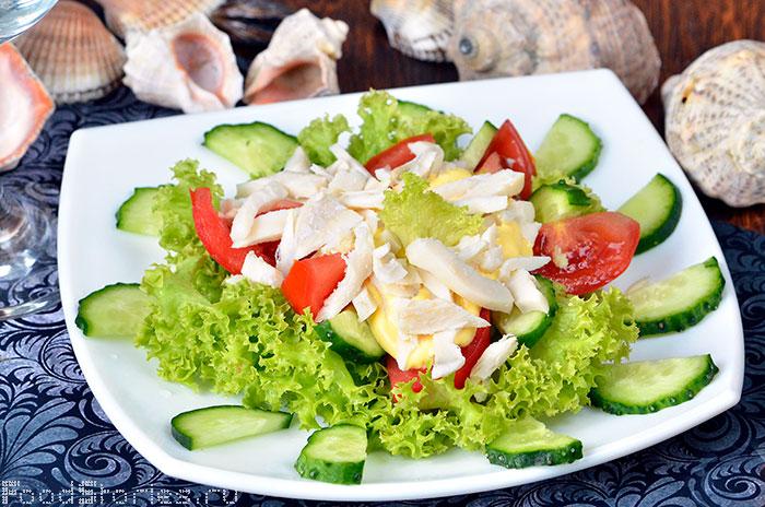 Салат с кальмаров и огурцов рецепт с